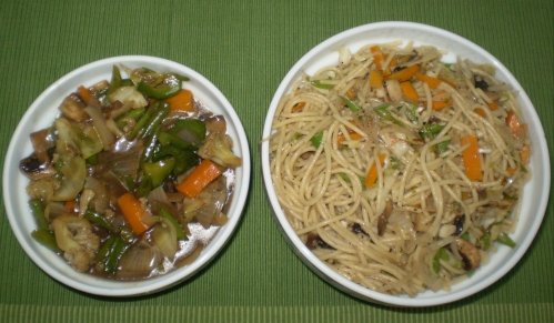 stir fried veggies and veg noodles