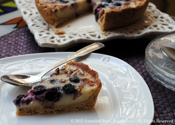 Baked Yogurt Tart with Blueberries, Orange Zest and Almonds